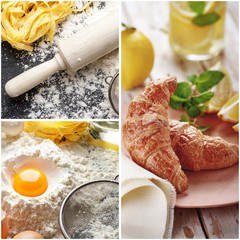The ingredients of a homemade croissant