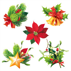 Elements of Christmas decoration isolated on white. Vector set.