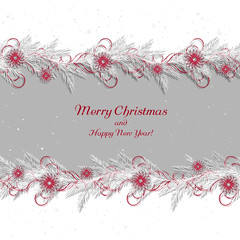 Christmas background, borders, frames, pine twigs. White spruce branches with abstract ethnic decorations. Vector, EPS 10