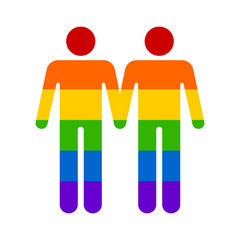 Gay marriage rainbow homosexual flat icon for apps and websites