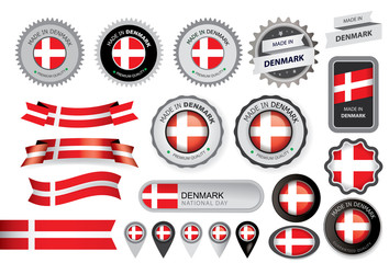 Made in Denmark Seal, Danish Flag (Vector Art)