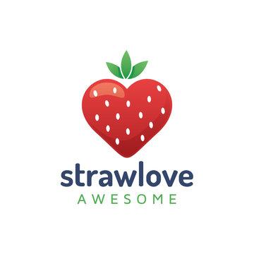 Strawberrie Love Icon Logo