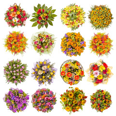 Top view of sixteen colorful flower bouquets