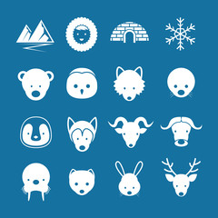 Arctic Animals Flat Icons Mono Color Set, Winter, Nature Travel and Wildlife