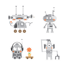 Cartoon robots set. Vector image.