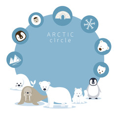 Arctic Animals and Icons Frame, Winter, Nature Travel and Wildlife