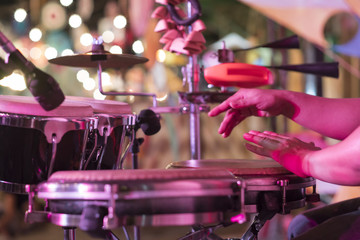 Hands on percussion, Street music background