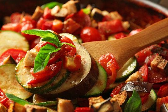 Tasty vegetarian ratatouille on pan, close-up