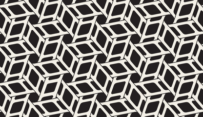 Vector Seamless Black and White Rounded Interlacing Line Hexagonal Pattern