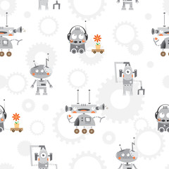 Vector seamless pattern with cartoon robots and gears on  white  background.