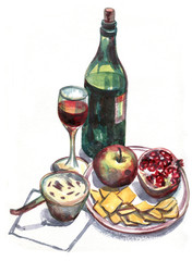 Still life with wine and fruit. Watercolor painting