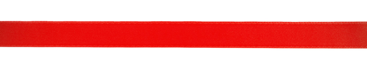 one red horizontal ribbon, isolated on white