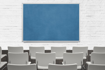 classroom with blueboard