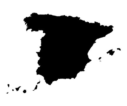 Spain map black on white background vector