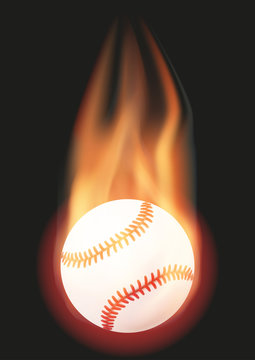 Baseball ball with flame