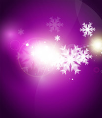 Holiday purple abstract background, winter snowflakes, Christmas and New Year design template