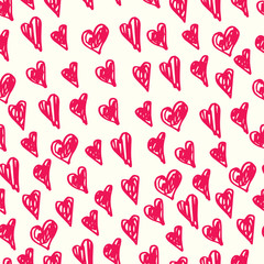 Vector hand-drawn pink and white hearts seamless pattern for Valentines day