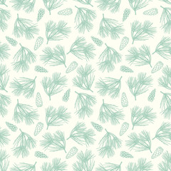 Seamless pine-tree with cones vector background pattern
