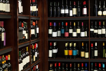 View of row bottles of wine