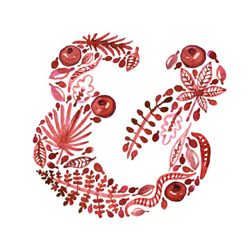 Watercolor nature vector red ampersand with leaves, garnets and other plants (green). Perfect for invitations and other design.