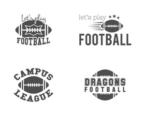 College american football team, championship badges, logos, labels, insignias set in retro style. Graphic vintage design for t-shirt, web. Monochrome print isolated on a white background. Vector