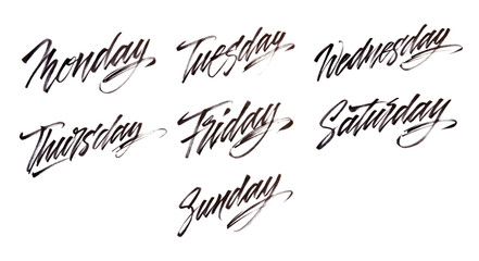 Modern brush calligraphy. Week days.