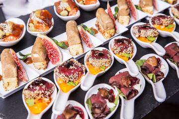 Gourmet appetizers: foie gras, venison, tuna and salmon.