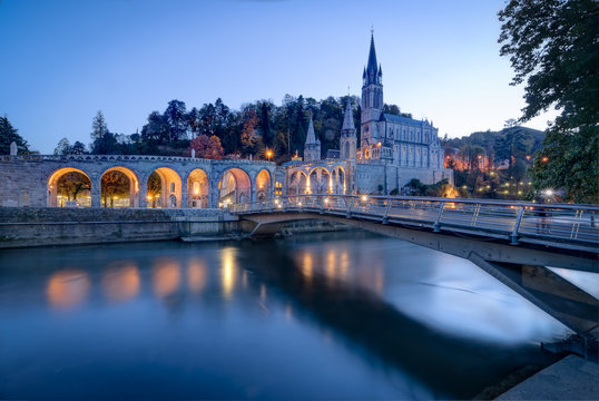 Sanctuary of Our Lady of Lourdes at Blue Hour