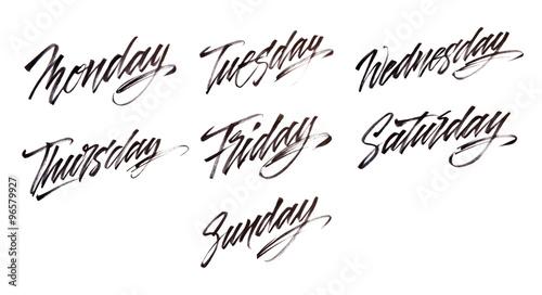 Quot modern brush calligraphy week days zdjęć stockowych i