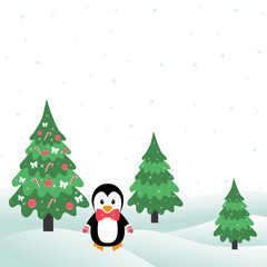 winter with christmas trees and penguin
