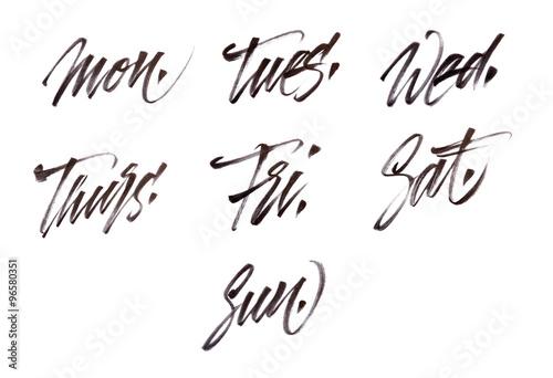 Quot modern brush calligraphy week days stockfotos und