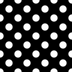 Big Polka Dot seamless pattern. Abstract fashion black and white texture. Monochrome template. Graphic style for wallpaper, wrapping, fabric, background, apparel, print production, etc. Vector