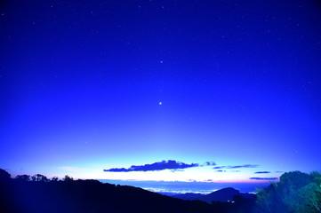 night sky stars on mountain background on dark blue sky