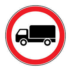 No truck prohibition sign. No lorry or no parking icon in the red circle isolated on white background. Illustrations of prohibiting warning symbol for trucks. No allowed emblem. Stock Vector