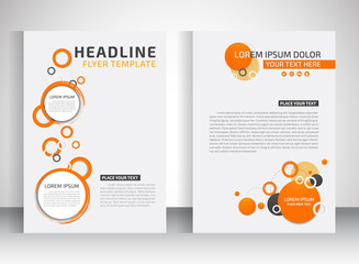 business flyer, brochure vector template  with circle shape
