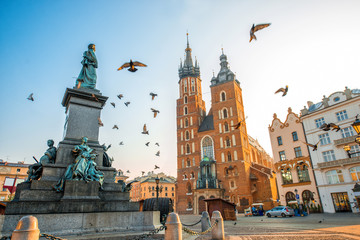 Tuinposter Krakau Old city center view in Krakow