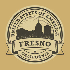 Grunge rubber stamp with name of Fresno, California