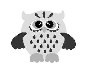 Hand drawing graphics owl. Dotwork. Owl graphic black & white. Illustration of cute owl. Owl made from many round dots.