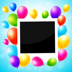 Photo frame with colorful balloons