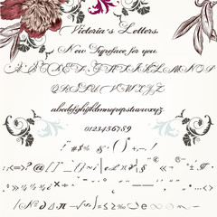Beautiful hand made script typeface or font in vintage Victorian