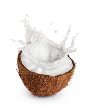 Coconut with milk splash on white background.