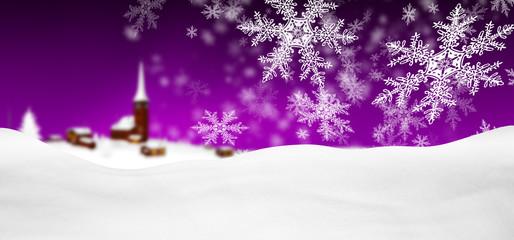 Abstrakte, violette, winterliche Grußkarte, Weihnachtskarte mit Schneeflocken, Schneekristallen, Flocken, Schnee im Vordergrund. Hintergrund Vorlage für Panorama Gruß Karten oder horizontale Banner.