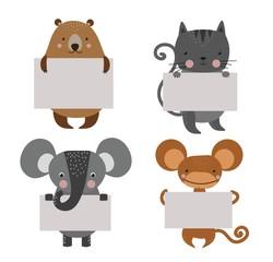 Wild animal zoo banner vector cartoon set