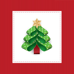 Vector stylized Christmas tree from dotted ribbons.