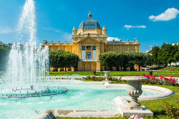 Art pavilion and fountain in Zagreb capital of Croatia Wall mural