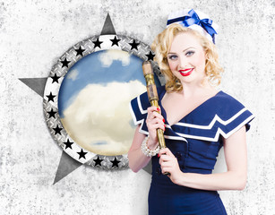 Pinup travel cruise. Seafaring girl with telescope