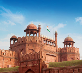 The Red Fort with blue sky