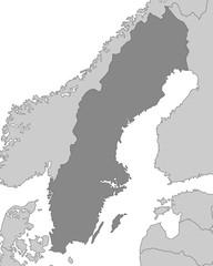 Karte von Schweden - Grau