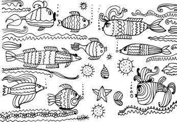 underwater world set of funny sketch Doodle Vector Illustration