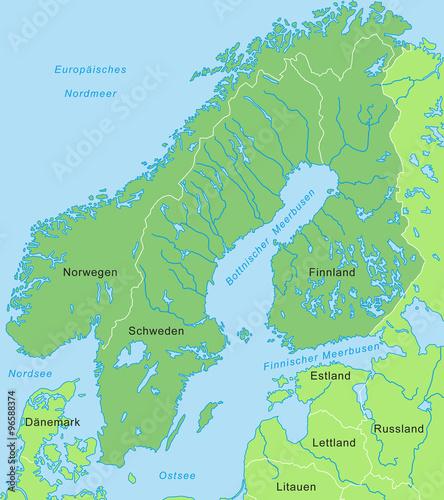 Karte Skandinavien.Karte Von Skandinavien Grün Beschriftung Stock Image And